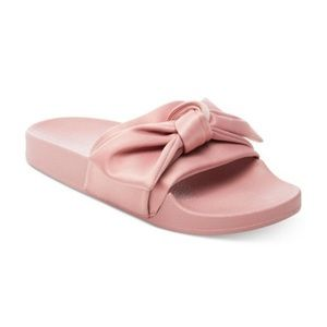 Steve Madden Pink Satin Bow Slide Sandals